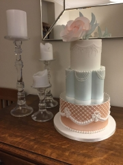 Romantic Pink and Blue Tiered Cake